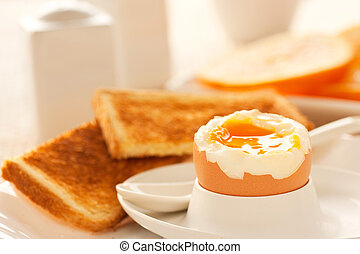 Soft boiled egg with toasted bread and slices of oranges in ...