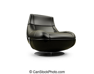 Soft brown armchair over white