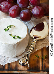 Soft cheese. - Delicious soft cheese and red grape.