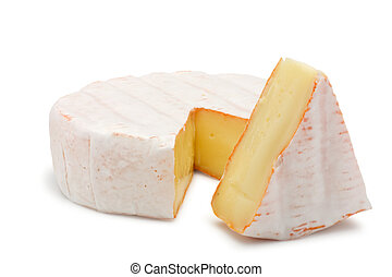 Soft cheese. Isolated on a white background.