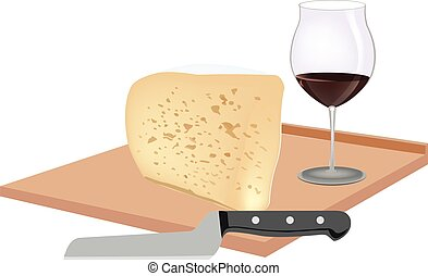 soft cheese on cutting board and wine glass