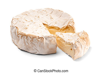 Soft cheese - Round Brie cheese with a section cut out over ...