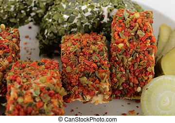 soft cheese with chives or paprika.