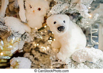 Soft Christmas tree decoration toy in the form of a white polar bear