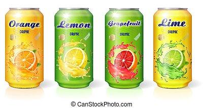 Soft drink citrus lemon orange lime grapefruit flavor in metal cans