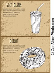 Soft Drink Donut Set Posters Vector Illustration