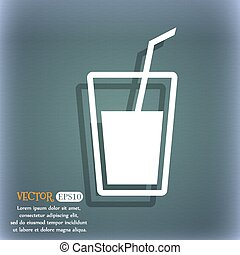 Soft drink  icon. On the blue-green abstract background with shadow and space for your text. Vector