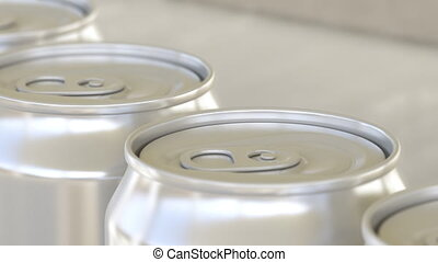 Soft drink or beer production line. Aluminum cans on...