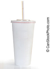 Soft Drink - A soft drink in clear takeout paper cup with...