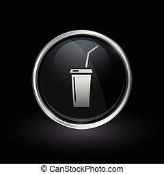 Soft drink soda icon inside round silver and black emblem