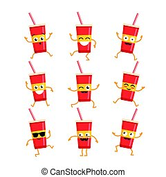 Soft Drink - vector set of mascot illustrations.