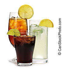 Soft drinks - Group of three soft drinks in various glasses ...