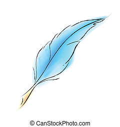 Soft Feather - illustration of soft bird feather on white...