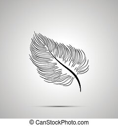 Soft feather outline simple black icon