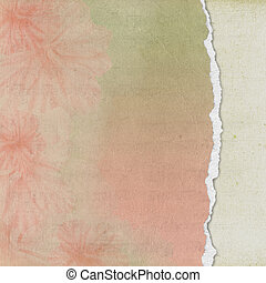 Torn edge of soft floral paper.
