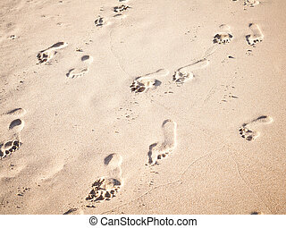 Soft focus and tone of footprints on the tropical beach sand...