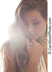 beautiful woman - soft focus backlight picture of beautiful ...