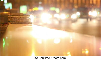 Soft focus. Night traffic in the city