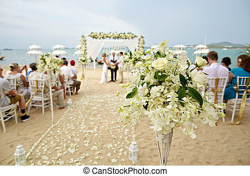 soft focus of beautiful flower decoration in the beach...