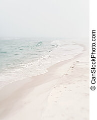Soft Foggy Seashore - Atmospheric mood shot of the beach and...