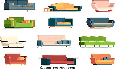Soft furniture. Divan fabric couch simple set front view interior furniture armchairs vector flat pictures