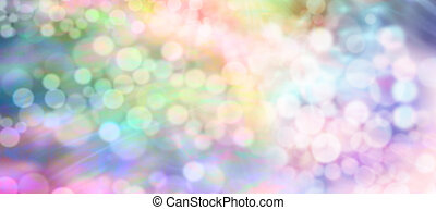 Soft healing bokeh light stream - Multicolored rainbow bokeh...