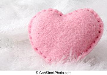 Soft heart on white background