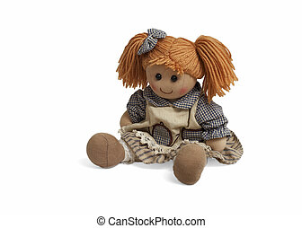 Soft lovely funny doll - Isolated sweet doll sitting at...