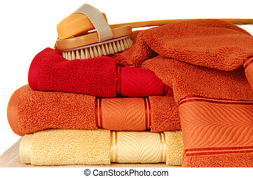 Luxurious soft cotton towels with soap and brush