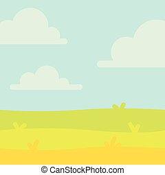 Soft nature landscape with blue sky, hills and green grass. Rural scenery. Field and meadow. Vector illustration in simple minimalistic flat style. Scene for your artwork and design.