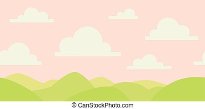 Soft nature landscape with pink sky, green hills. Rural scenery. Sunrise time. Vector illustration in simple minimalistic flat style. Scene for your artwork and design. Horizontal composition.