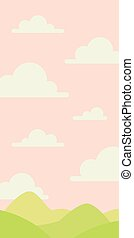 Soft nature landscape with pink sky, green hills. Rural scenery. Sunrise time. Vector illustration in simple minimalistic flat style. Scene for your artwork and design. Vertical composition.