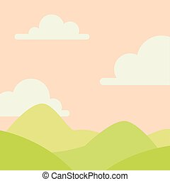 Soft nature landscape with sky, mountains and green hills. Rural scenery. Sunrise time. Vector illustration in simple minimalistic flat style. Scene for your artwork and design.