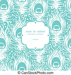 Soft peacock feathers vector frame seamless pattern background