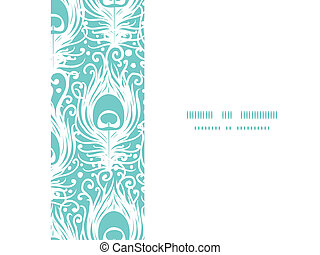Soft peacock feathers vector horizontal frame seamless pattern background