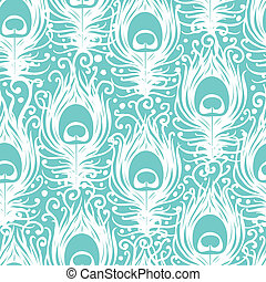 Soft peacock feathers vector seamless pattern background...