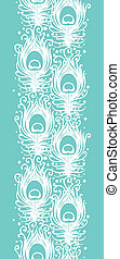 Soft peacock feathers vector vertical seamless pattern background