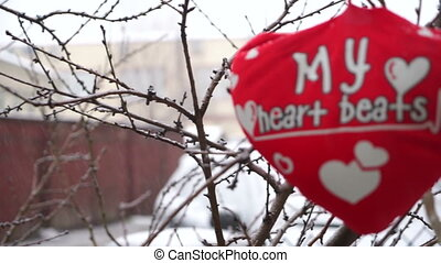 """Soft pillow in the shape of heart with the inscription """"I love you"""" Valentine's Day"""