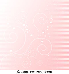 Soft pink background with floral elements
