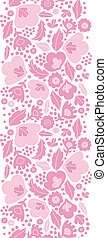 Soft pink floral silhouettes vertical seamless pattern background
