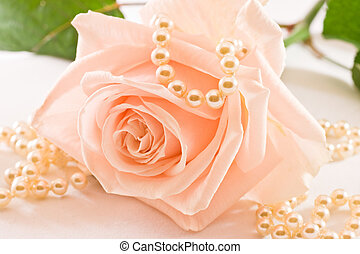 Soft pink rose and pearls - Soft pink rose with green leaves...