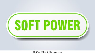 soft power sign. rounded isolated button. white sticker