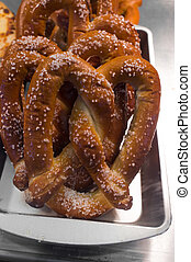 Soft Pretzel Display - Carnival display of several fresh...