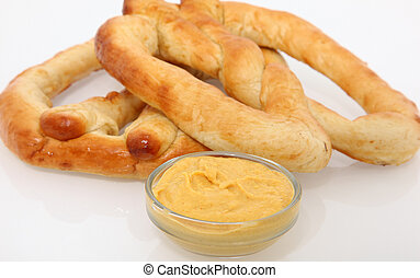 Soft Pretzel - Hot no salt soft pretzels with mustard.