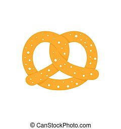 Soft pretzel icon, flat style - Soft pretzel icon. Flat...