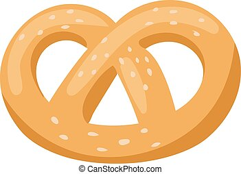 Soft pretzel isolated salty snack fresh german tasty traditional food vector icon.