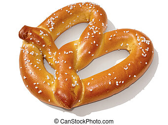 Soft pretzel isolated on white.