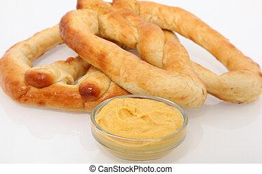 Soft Pretzel - Hot no salt soft pretzels with mustard.