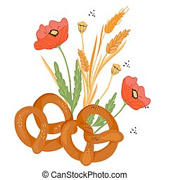 Soft Pretzels grouped with cereal ears and poppy flowers, flat vector isolated.