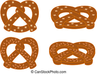 Soft pretzels set 1 - A set of soft pretzels in various...